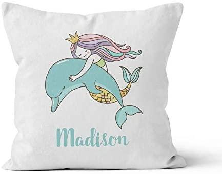 43LenaJon Mermaid Dolphin Girls Name Pillow Decorative Throw Pillow with Name Children's Name Pillow Cover Rustic Throw Pillow Cover,Farm Country Pillow Cases