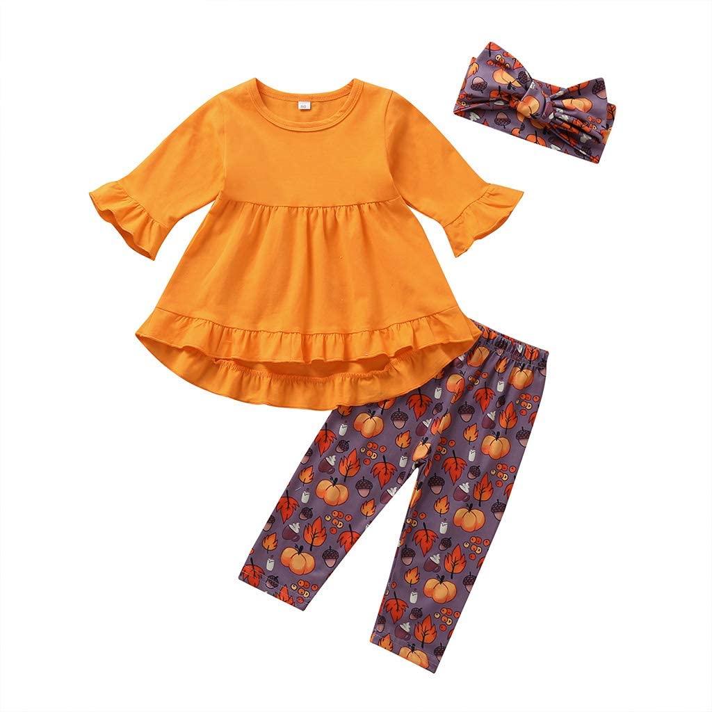 Little Girls Baby Long Sleeve Ruffle Shirt Dress Tops Pants Headband Outfit Hall