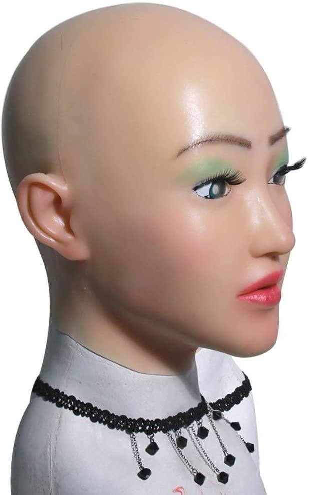 NADAENMJ Latex Face Mask Female Crossdresser Mask Female Soft Silicone Halloween Cosplay Party Supplies