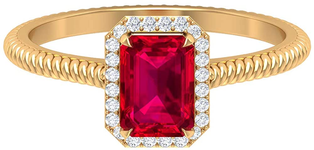 Solitaire 1.2 CT Ruby Ring, 7X5 MM Octagon Shape Ring, HI-SI Diamond Halo Ring, Gemstone Engagement Ring, Unique July Birthstone Ring, Spiral Ring, 18K Gold