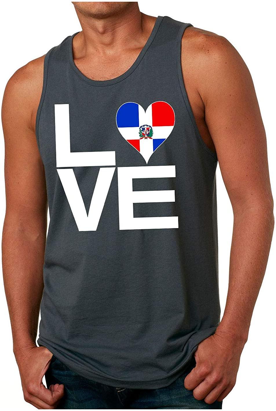 HARD EDGE DESIGN Men's Love Block Dominican Republic Heart Tank Top, Small, Heavy Metal