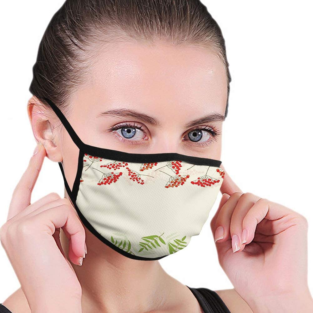 Fillter Face Cloth for man and woman Reusable Mouth Anti Dust Double Protection Graphic Border Design Berries Mountain Ashes Botanical