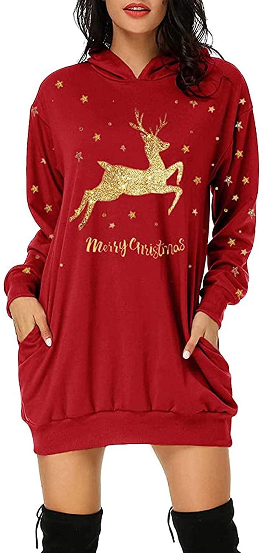 Women's Fashion Hoodie Dress Christmas Print Casual Plus Size Mini Dress Long Sleeve Ladies Vintage Comfort Pullover