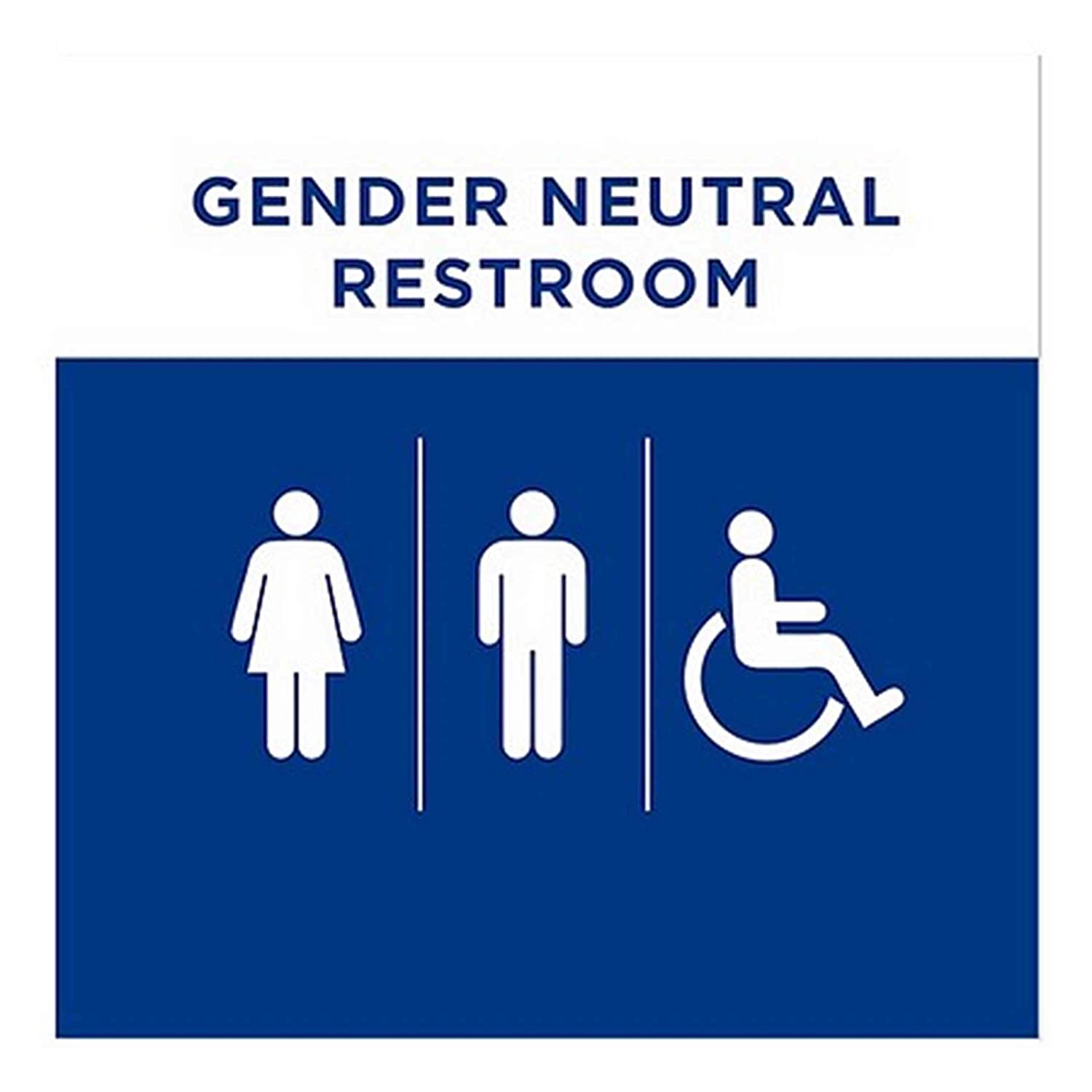 CGSignLab 2439179_5gfxw_24x24_None Gender Neutral and Handicapped Restroom Sign in Blue Repositionable Opaque White 1st Surface Static-Cling Non-Adhesive Window Decal, Vinyl, 24 x 24 (Pack of 5)