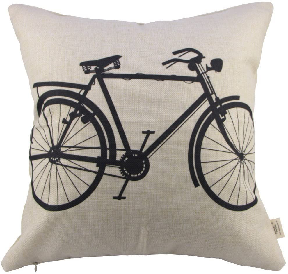 SIXSTARS Decorative Linen Cloth Pillow Cover Cushion Case Bicycle, 18