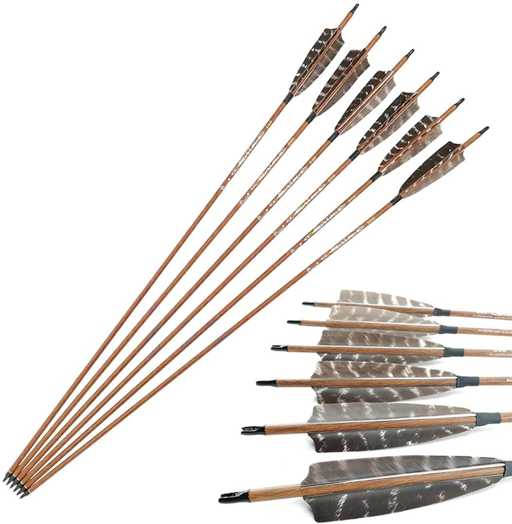 Pinals Archery 32Inch 100% Carbon Arrows Natural Feather Hunting Target Arrows for Compound Recurve Tranditional Bare Bows Longbow Spine 400 500 600 6/12PCS