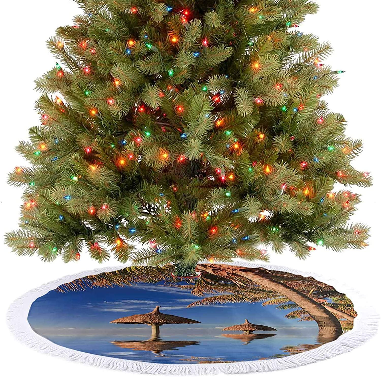 Adorise Christmas Tree Mat Tropic Palm Trees in Ocean Exotic Skyline Summer Paradise Mauritius Honeymoon Theme Blue Holiday Party Decoration Give Your Christmas Tree an Extra Touch - 36 Inch