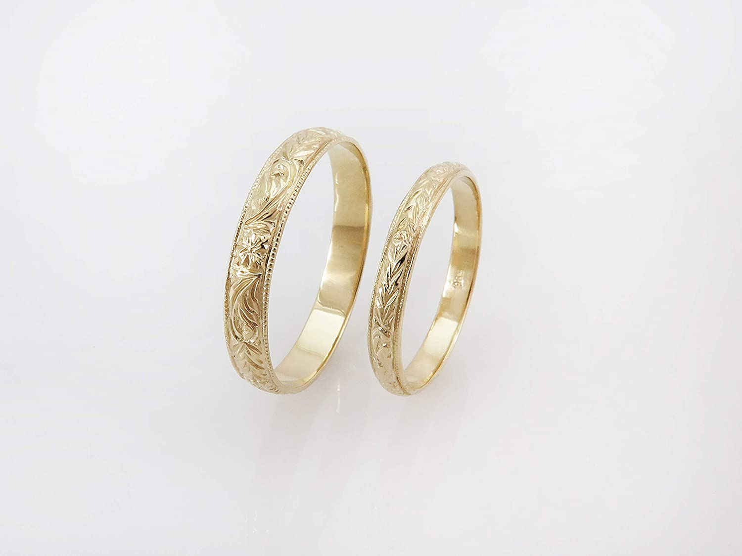 His and Her Wedding Rings, Set of 2 Vintage Style Wedding Bands for Men and Women, Handmade Victorian Antique Style Ring Set with Flower Pattern Made of Solid 14k/18K Yellow Gold