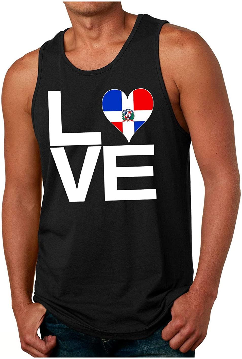HARD EDGE DESIGN Men's Love Block Dominican Republic Heart Tank Top, Small, Black