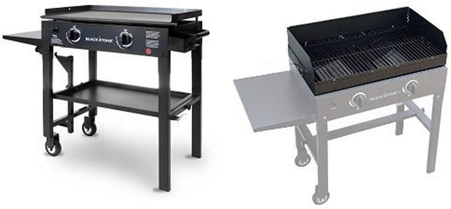 Blackstone 28 inch Outdoor Flat Top Gas Grill Griddle Station - 2-burner - Propane Fueled - Restaurant Grade - Professional Quality with Grill Top