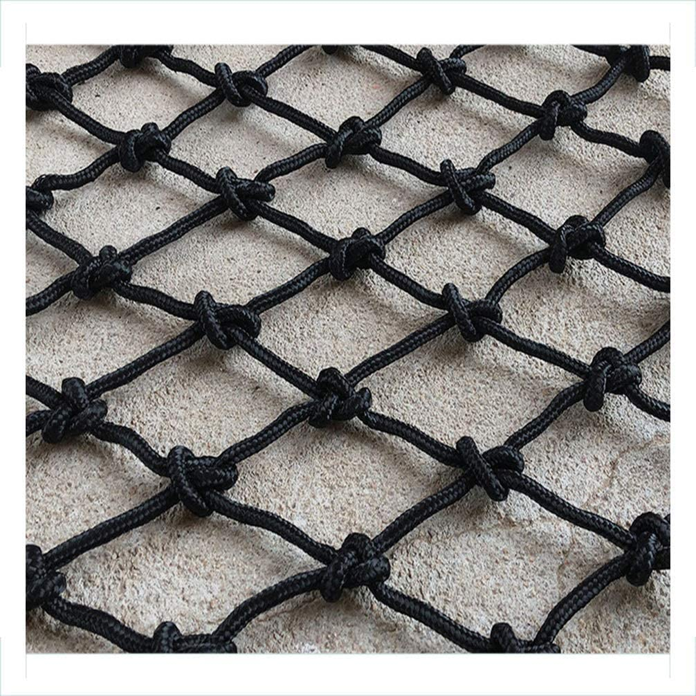 GFF Cargo Rope Net Safety Net Railway Building Construction Isolation Protection Net Retro Bar Black Decoration Net Shop Hanging Clothes Nylon Rope Net 2x7m