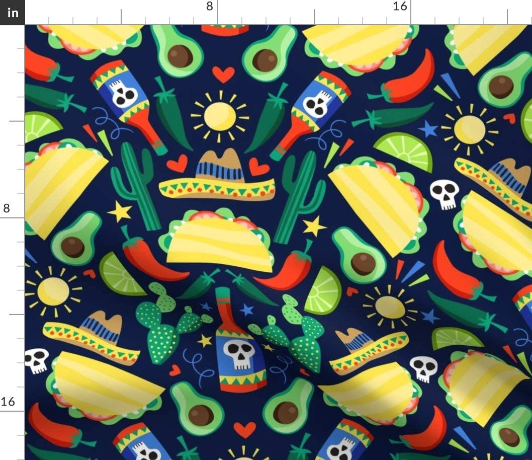 Spoonflower Fabric - Veggie Tacos Taco Burritos Food Mexican Cacti Hot Printed on Basketweave Cotton Canvas Fabric by The Yard - Upholstery Home Decor Bottomweight Apparel