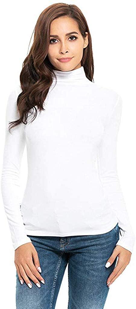 ZEFOTIM Womens Long Sleeve Solid Slim Fit Turtleneck Tee Shirt Top Blouse
