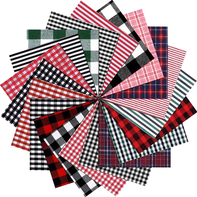Christmas Cotton Fabric Plaid Print Bundle Squares Christmas Patchwork Cloths Assorted Plaid Sewing Fabric Christmas Quilting Fabric, 6 x 6 Inch for DIY Festival Sewing Home Decoration (80)