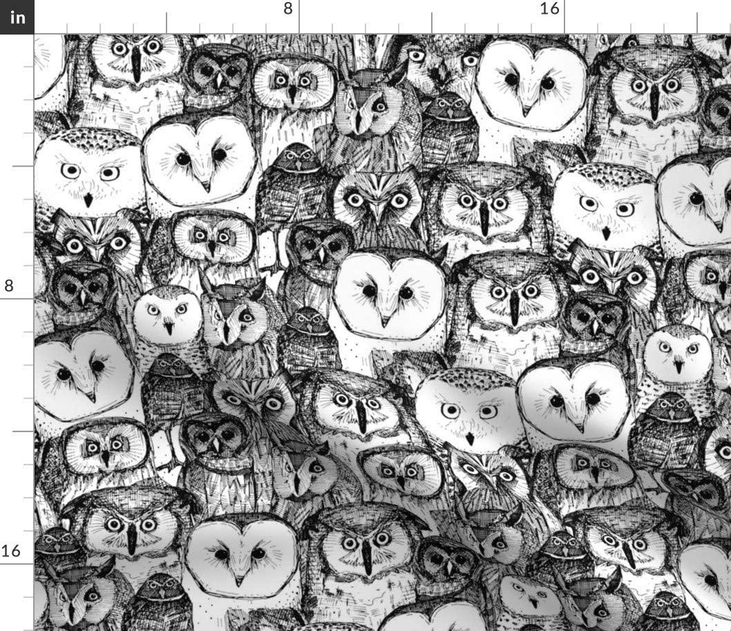 Spoonflower Fabric - Owls Black White Owl Illustration Birds Monochrome Barn Animal Bird Printed on Chiffon Fabric by The Yard - Sewing Fashion Apparel Dresses Home Decor