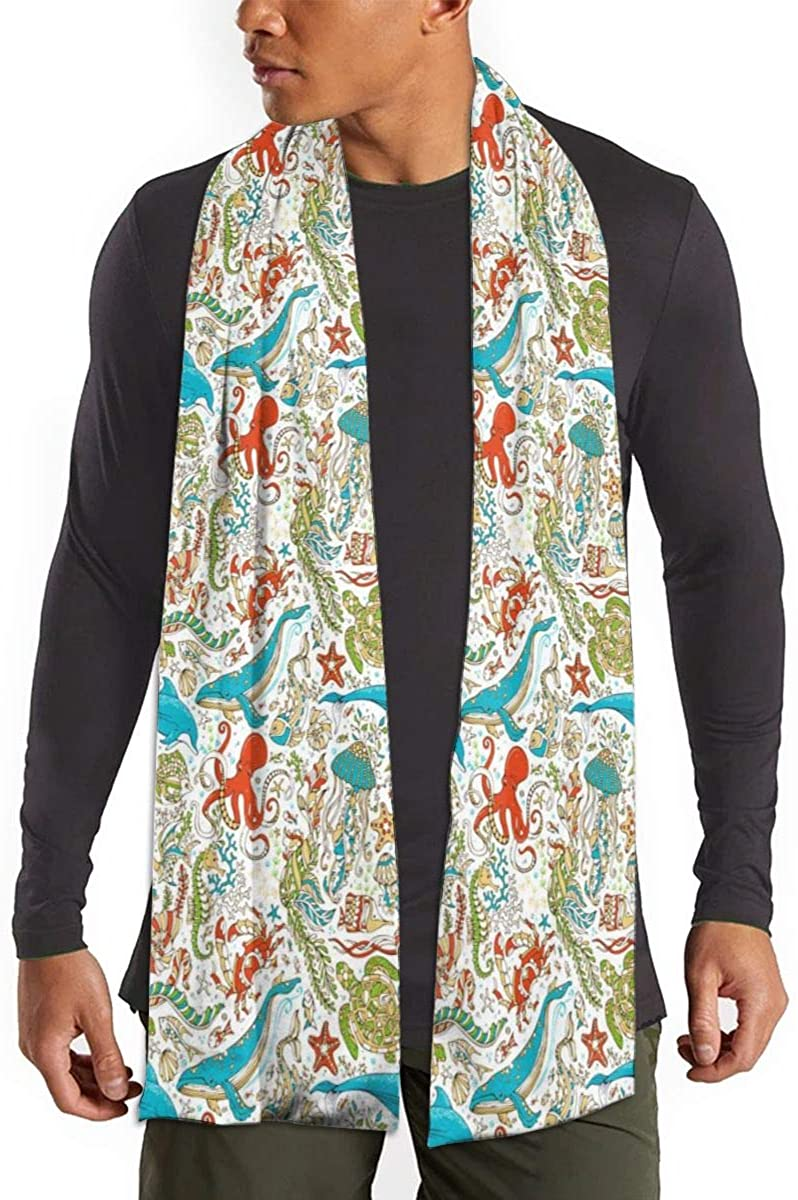 Octopus Whale Dolphin Turtle Scarfs – Imported Lightweight Neckwear Blanket Wrap Winter Shawl