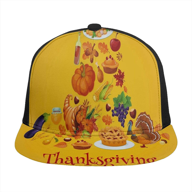 Happy Thanksgiving Day Turkey Pumpkin Maple Leaf Fruit Flat Brim Baseball Hat Snapback Adjustable Tennis Sports Cap Unique