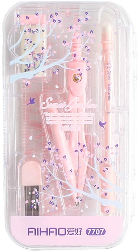 LABANCA 8 Pcs Compass Set with Protractor Rulers Pencil for Math Geometry Pink