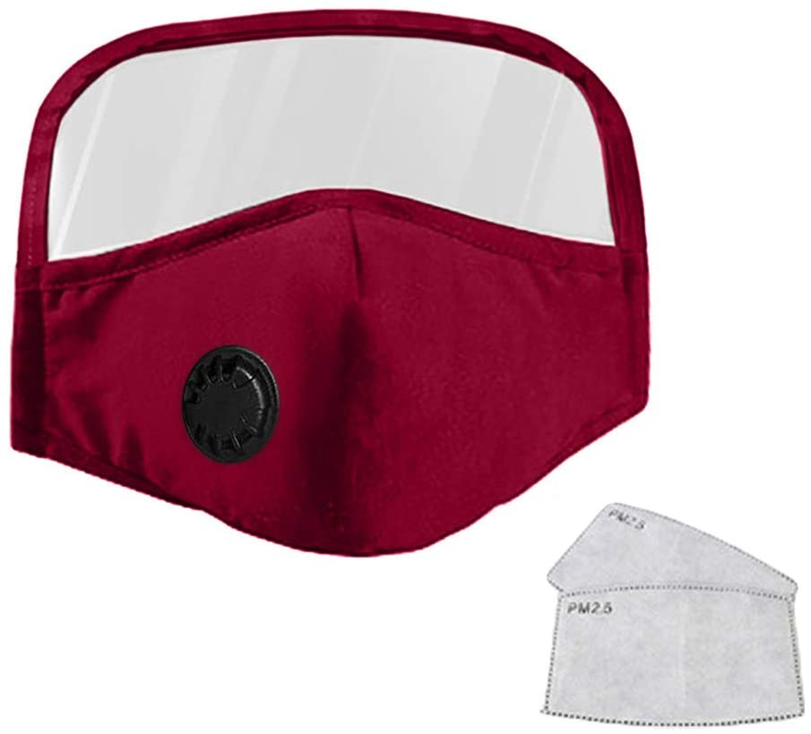 Fashion Face Coverings Reusable Bandanas Covers with Eyes Shield Removable, Adult Men Women Cotton Face Mouth with Filter Pocket, Free 2 Sheets Carbon Filters