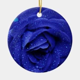 Lplpol Blue Rose Flower Floral Patterns Abstract Unique Ceramic Ornamentfor Gift Commemoration Day