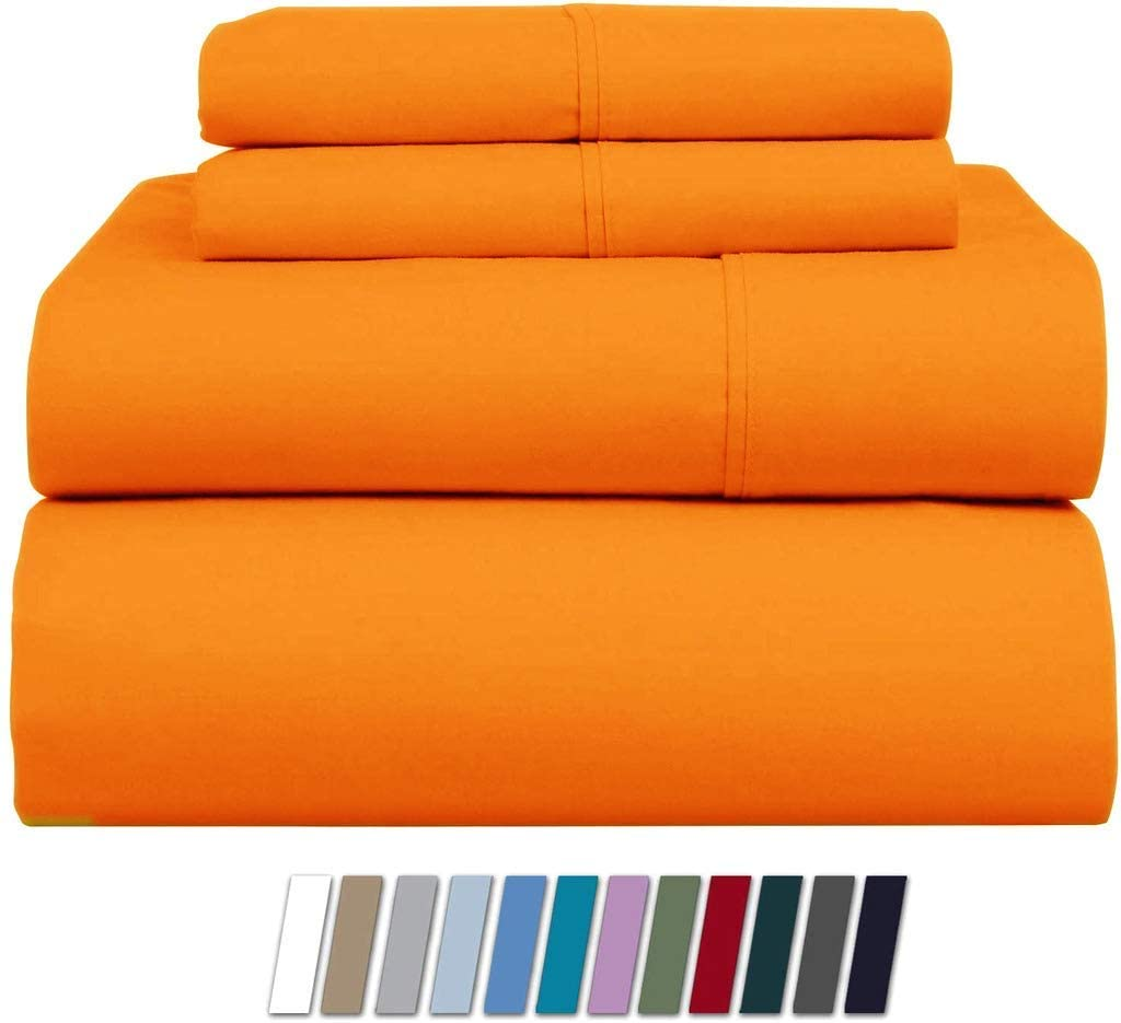 AMAY 100% Organic Cotton Sheets Set, 800 Thread Count Long Staple Cotton, Sateen Weave for Soft and Silky Feel, Fits Mattress Upto 18'' Deep Pocket King/Standard Size, Orange Solid
