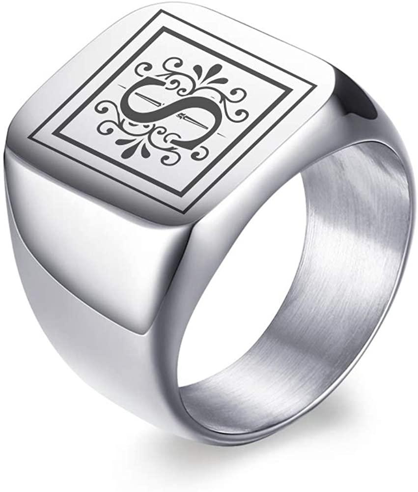 MPRAINBOW Men Monogram Name Ring Signet Ring College Ring Initials Ring Men Initial Band Mens Circle Letter Ring,Gift for Him