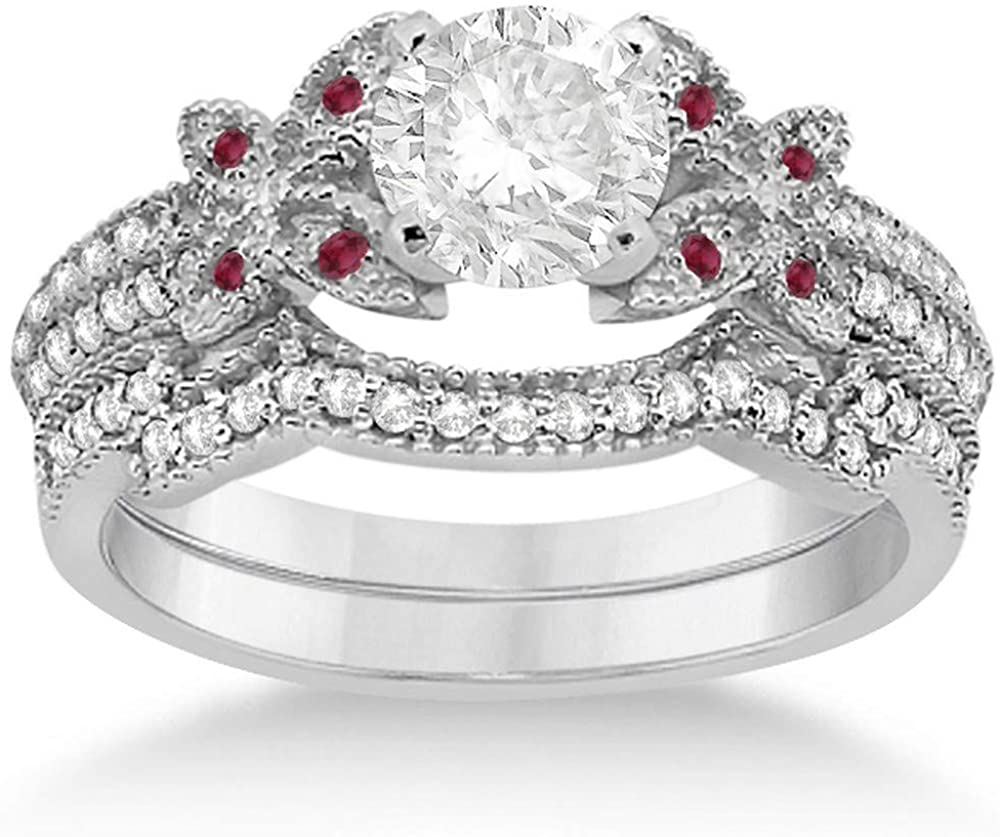 Butterfly Double Row Micro Pave Diamond Engagement Ring with Band Setting Palladium (0.39ct)