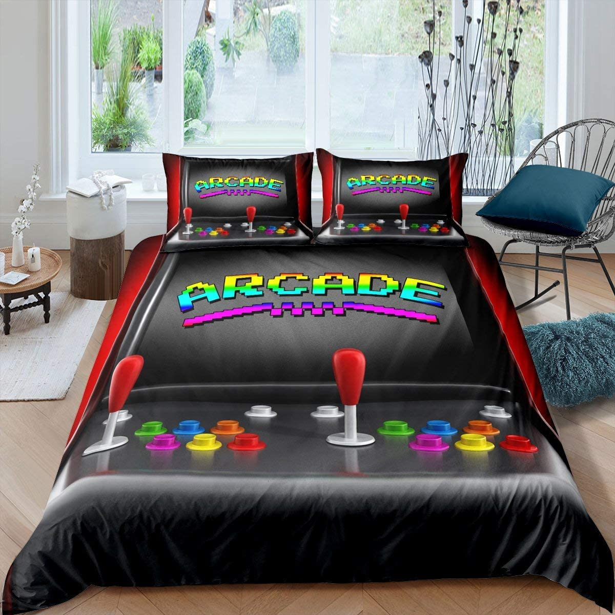 Erosebridal Gamer Bedding Set Queen Size Old Game Machine Comforter Cover Classic Arcade Retro Game Duvet Cover for Kids Boys Teen Novelty Action Buttons Bedspreads Cover 3Pcs Child Gaming Room Decor