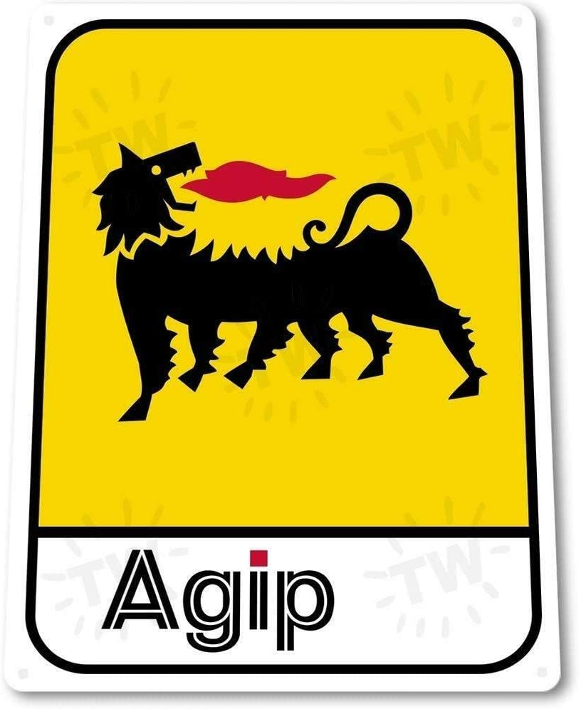 PotteLove AGIP Gas Oil Station Metal Decor Garage Shop Sign, 8 in X 12 in Wall Decor