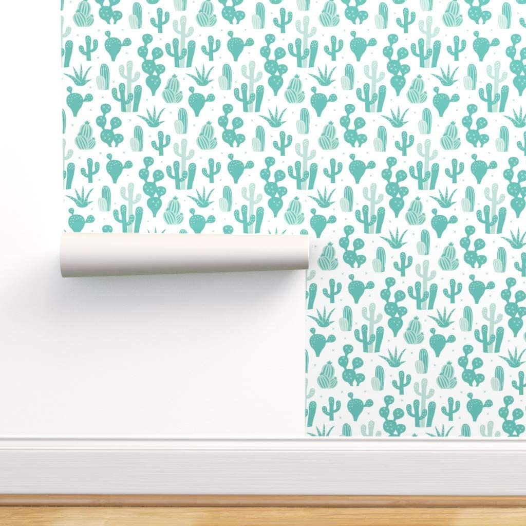Spoonflower Pre-Pasted Removable Wallpaper, Cactus Mint Kids Summer Succulent Cacti Print, Water-Activated Wallpaper, 24in x 144in Roll