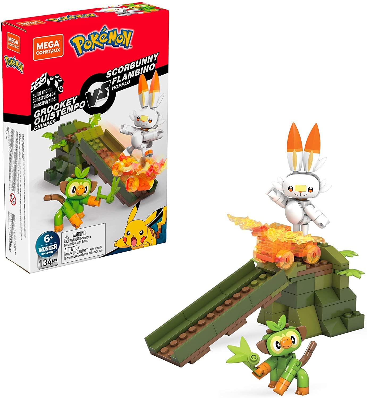 Mega Construx Pokemon Grookey vs. Scorbunny Figure Building Set