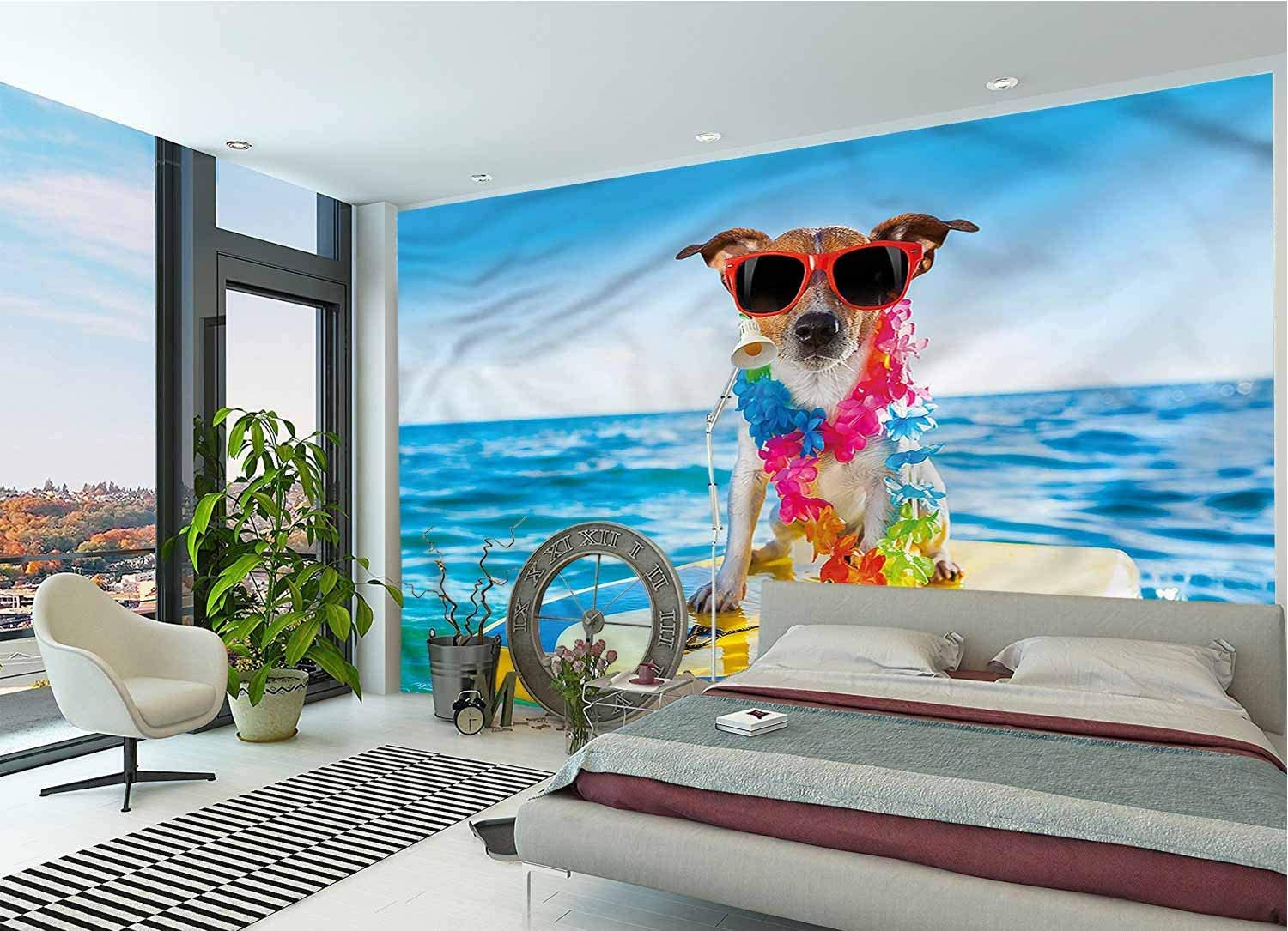 LCGGDB Ride The Wave Large Wall Mural,Dog in The Ocean Removable Large Sticker Foil Wall Decor for Office Kids Bedroom Nursery Family Decor-144x100 Inch