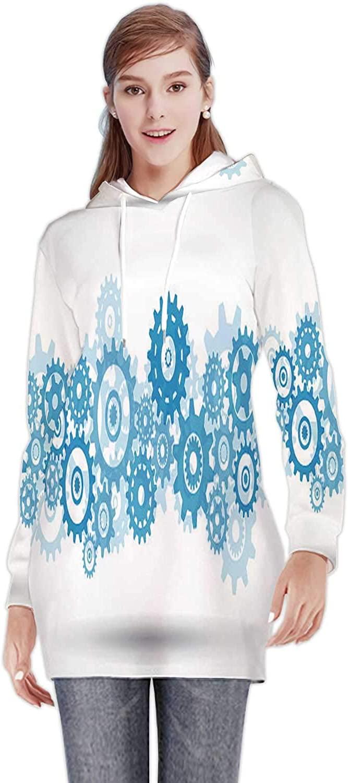 C COABALLA Abstract Wavy Lines No.50,Women's Sweatshirt Casual Long Sleeve Pullover Hoodie Dress S