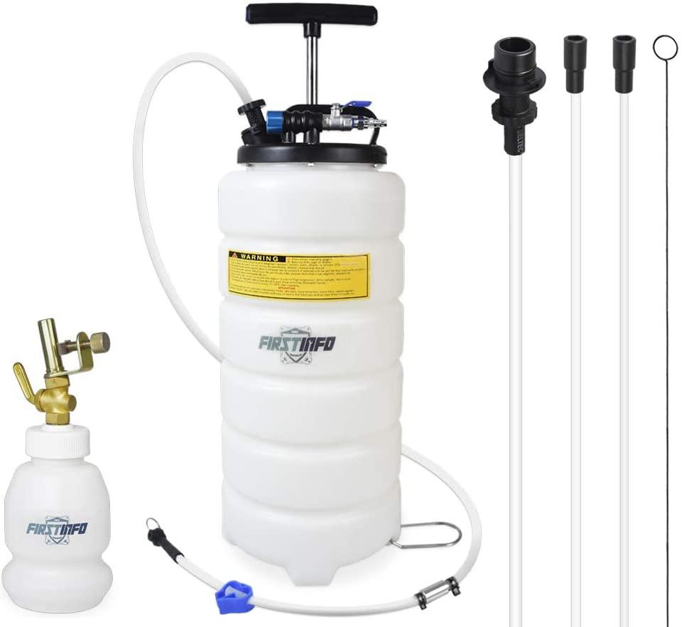 FIRSTINFO 15 Liter Pneumatic Manual Fluid Extractor/Vacuum Oil Pump w/ 6.6 ft Long Silicon Brake Fluid Hose with Check Valve & 1 Liter Brake Fluid Refilling Bottle