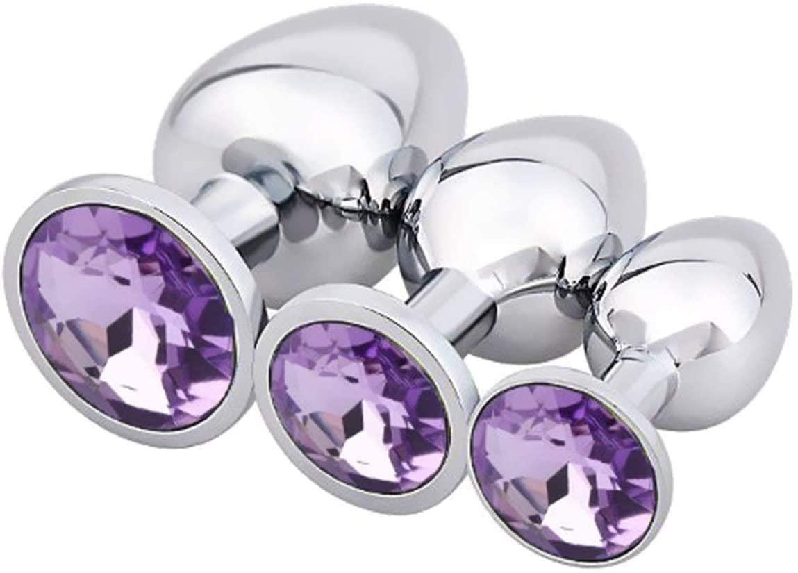 3 Pcs/Set Luxury Gem Jewelry Design Ànâles Plùg Stạinless Steel Bûtt Pl'uģ Jewel Metạl Set for Women ạnd Men Beginner
