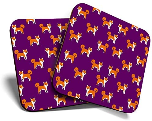 Great Coasters (Set of 2) Square/Glossy Quality Coasters/Tabletop Protection for Any Table Type - Funky Shiba Inu Dog Puppy #15544