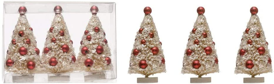 Set of 3 White Sisal Bottle Brush Christmas Trees with Red Ornaments on Wood Bases - Small Pre Decorated Holiday Decor