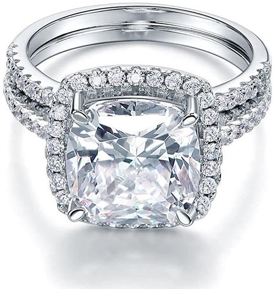 Rolex Jewells 4 Ct Cushion Bridal Set Engagement Ring White Gold Finish