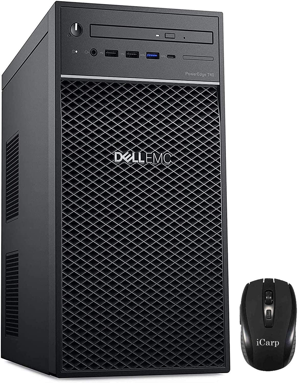 2020 Newest Dell PowerEdge T40 Tower Server Premium Desktop Tower Intel Quad-Core Xeon E-2224G 3.5GHz 8GB DDR4 1TB HDD DVD-RW USB-C Intel UHD Graphics P630 No Operating System + iCarp Wireless Mouse