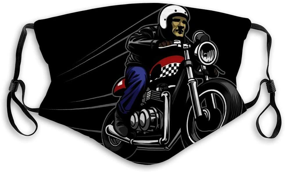 Fillter Face Cloth For anyone,Caferacer Rider Mascot,Cold Mouth Dustproof Double Protection