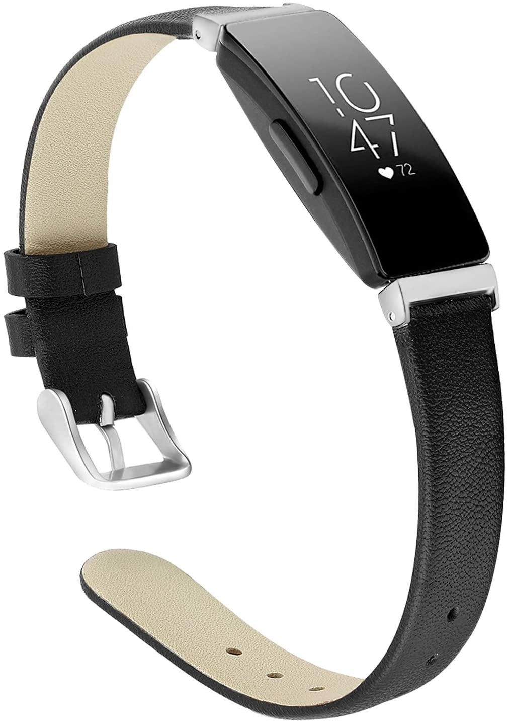 OwnZone Leather Bands Compatible with Fitbit Inspire & Inspire HR Bands for Women Men, Soft Leather Wristbands Classic Leather Strap Accessories Replacement for Fitbit Inspire Fitness Tracker(Black)