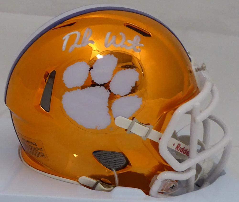Deshaun Watson Autographed Clemson Tigers Orange Chrome Speed Mini Helmet Beckett BAS Stock #144512 - Autographed College Mini Helmets