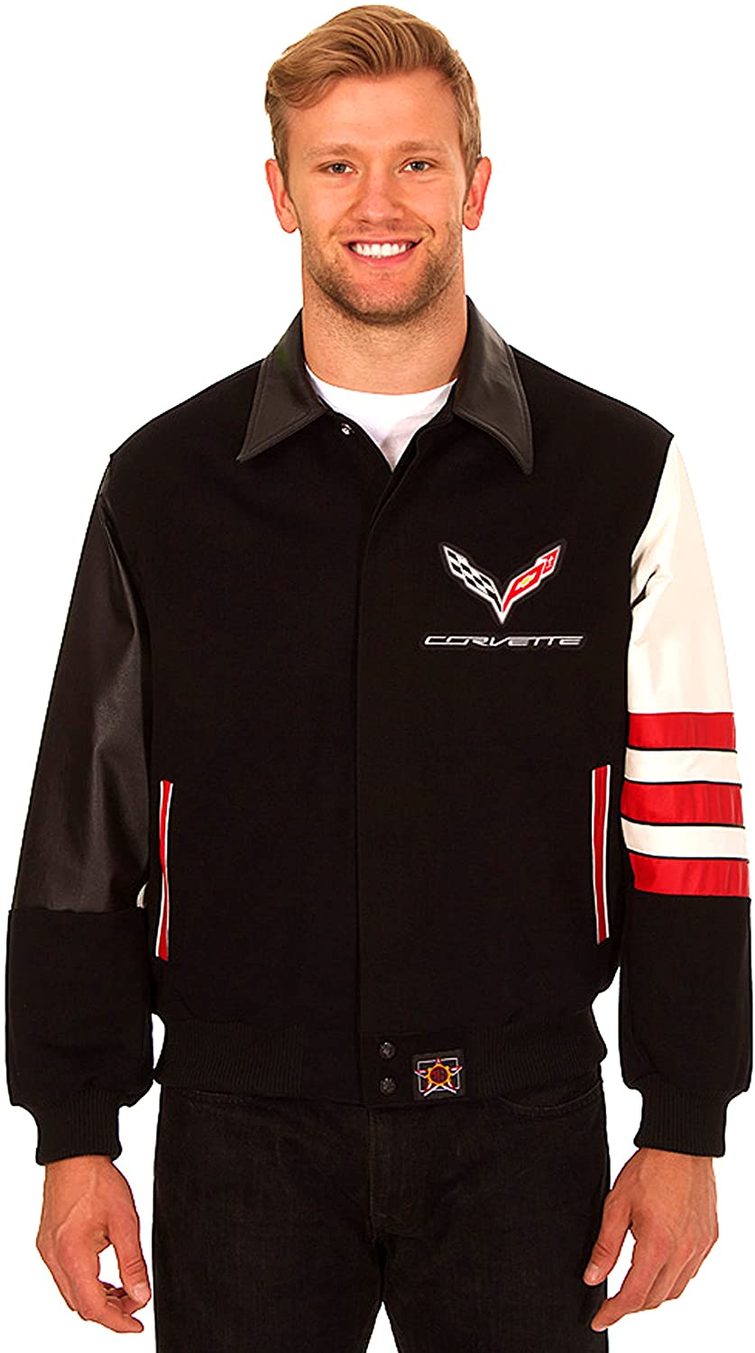 Chevy Corvette Men's Wool & Leather Jacket with Embroidered Applique Logos