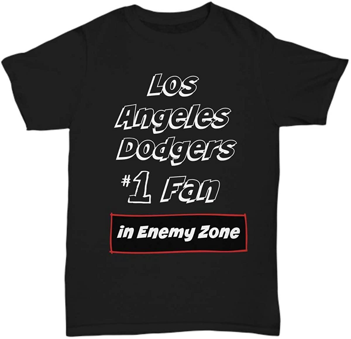 GoGarden Fun Football League Sports Team Super Fan Lover Big T Shirt - No1 Fan Los Angeles Dodgersin Enemy Zone Football Team Tee - Unisex Tee Black