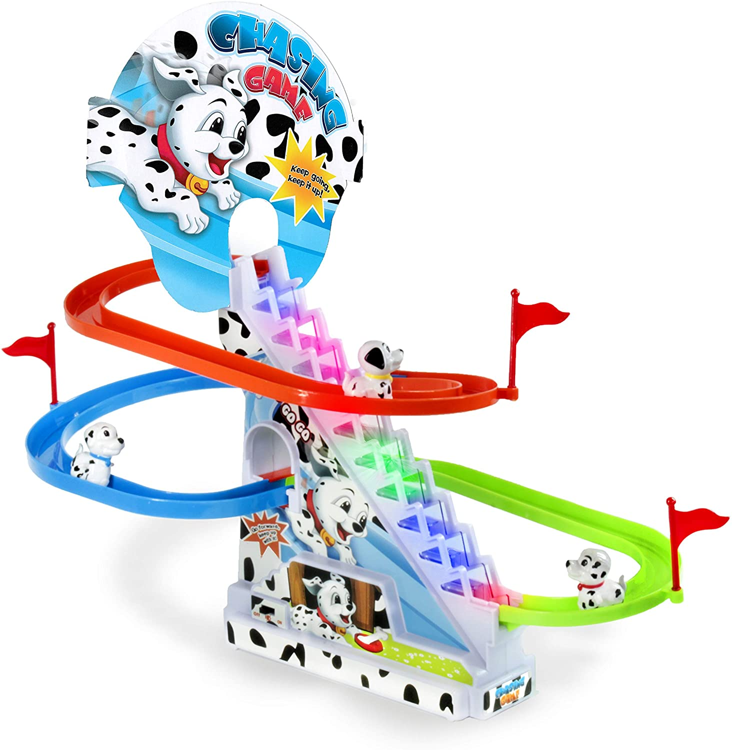 Haktoys Dalmatian Spotty Dog Chasing Playset | Playful Roller Coaster, Puppy Race Track Set with LED Flashing Lights | Music On/Off Button for Quiet Play, Safe and Durable, Gift for Toddlers & Kids