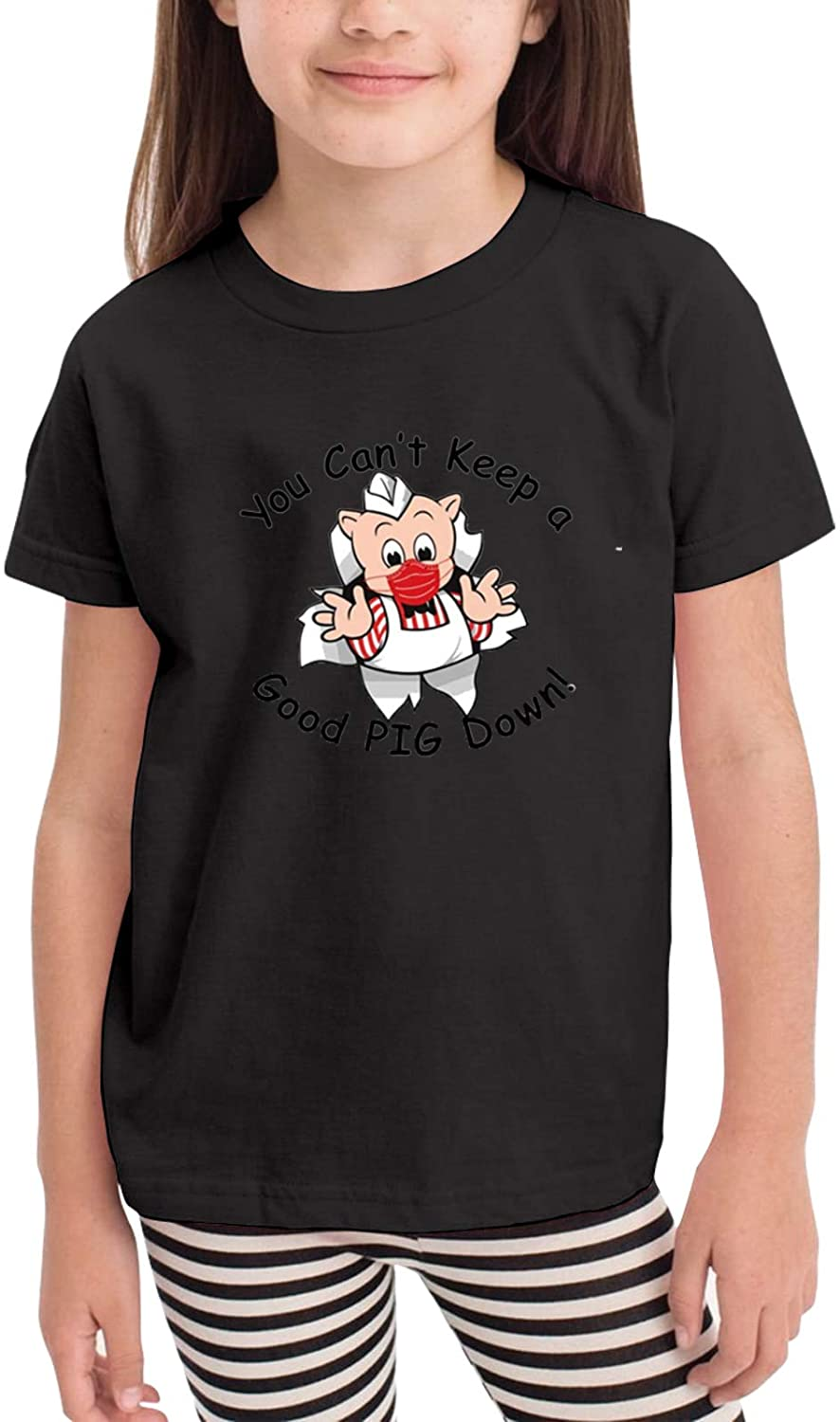 Ramivox Piggly -Wiggly Toddler/Baby Round Neck Short Sleeve T-Shirt (for Children Aged 2-6 Years) Black