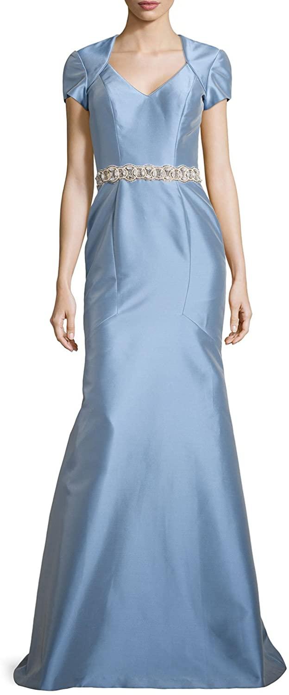 Theia Women's Cap Sleeve Satin Mermaid Dress