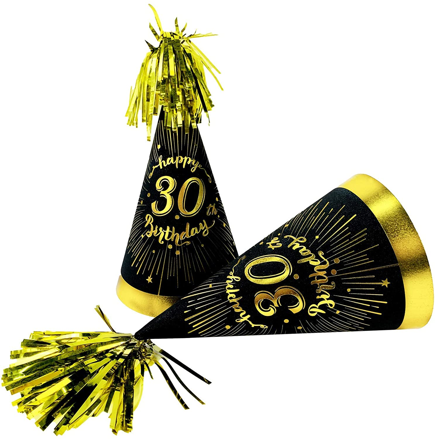30th birthday decorations for hats - cone hats with gold glitter cardstock, black gold theme 30th birthday party supplies. 30th birthday party favors. 6 Count