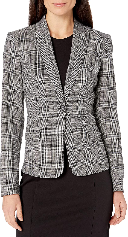 Calvin Klein Women's Plaid One Button Jacket
