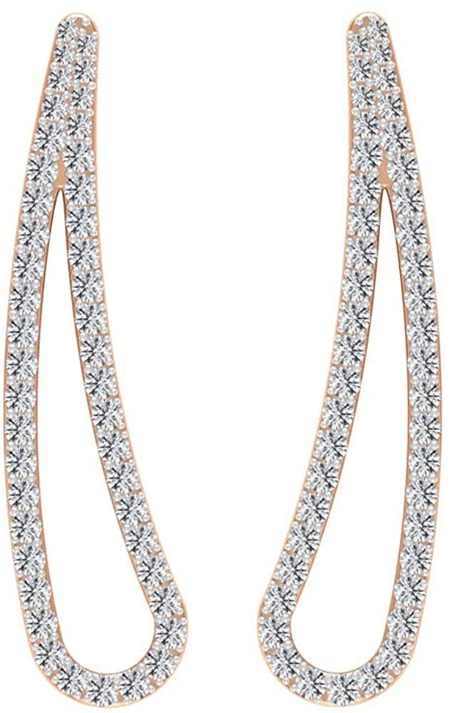 0.53 Ct Certified Diamond Ear Climber Earring, Classic Women Petal Gold Earring, Statement Partywear Women Earring, Unique Wedding Ear Crawler Earring, Climber
